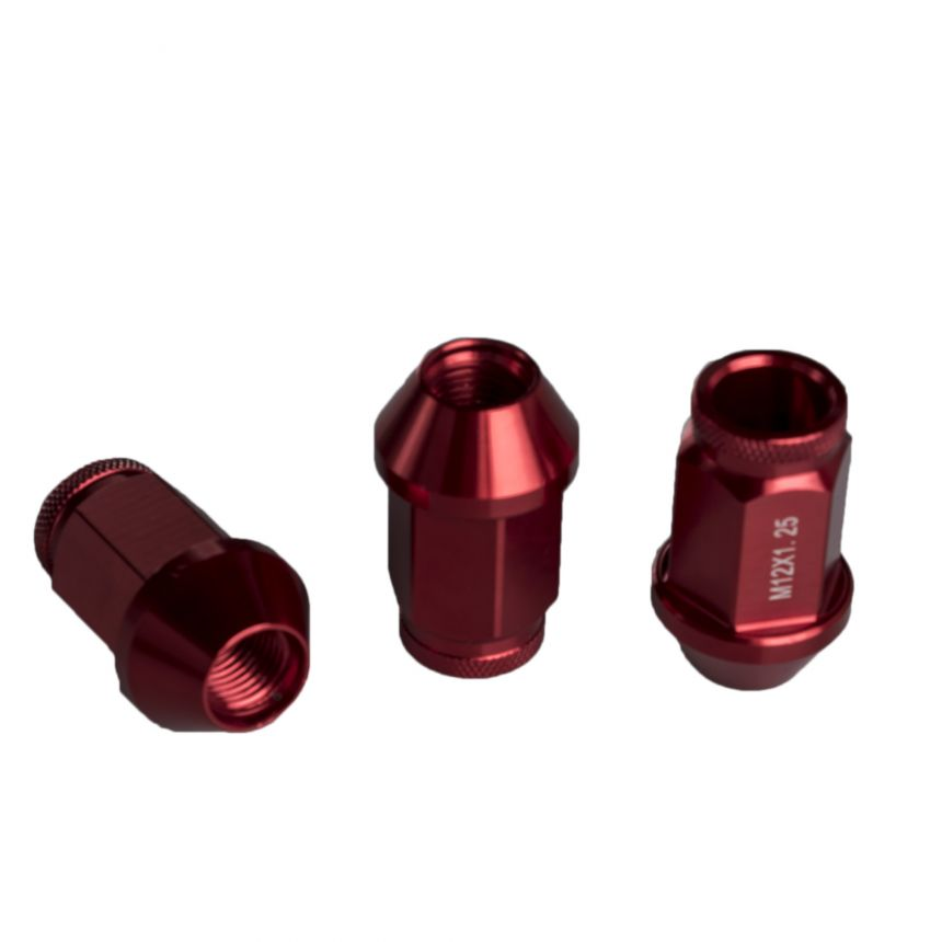 Alumiinimutterisarja punainen 1,25mm nousu, 12mm, 20 kpl